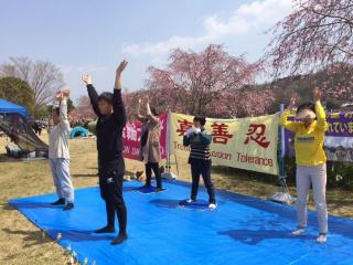 愛知県の桜まつりで法輪功を紹介